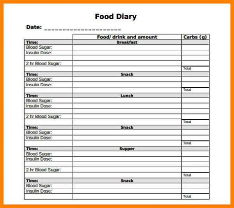 Food Diary Template 9 Food Diary Template Appeal Leter