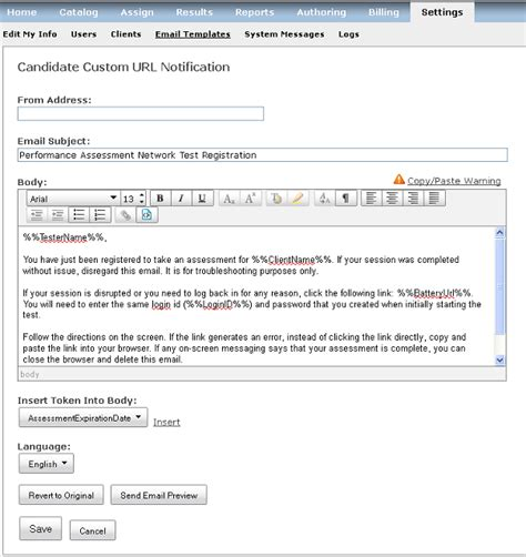 It Notification Email Template email templates pearson assessment support