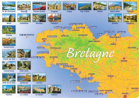 france bretagne map postcard offeing map card tag