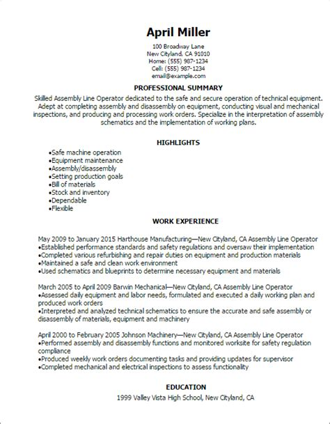 Assembly Line Technician Resume by Professional Assembly Line Operator Resume Templates To Showcase Your Talent Myperfectresume