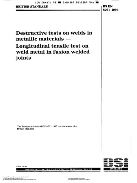 En 876-Longitudinal Tensile Test | Welding | Engineering