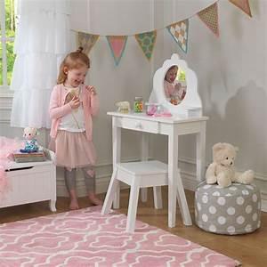 Coiffeuse En Bois Petite Fille : coiffeuse en bois et tabouret pour enfant ~ Teatrodelosmanantiales.com Idées de Décoration