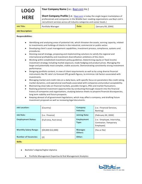 Manager Profile by Portfolio Manager Description Template By Bayt