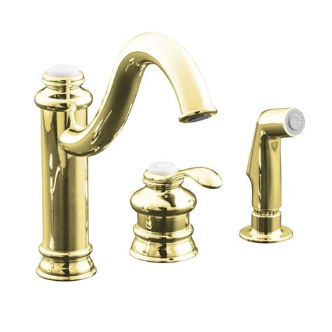 kohler brass kitchen faucets kohler fairfax single handle side sprayer kitchen faucet in vibrant polished brass k 12185 pb
