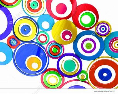 Vibrant Circles Colors Background 3d Illustration Stripes