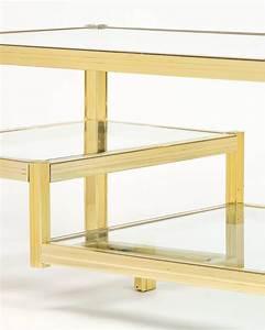 French mid century three tier brass glass top coffee table for Three tier glass coffee table