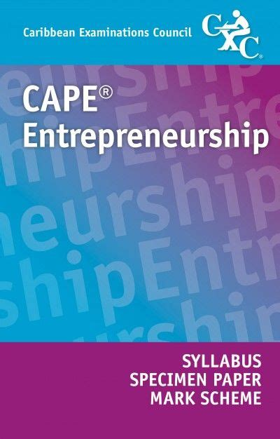 cape entrepreneurship syllabus specimen paper  mark