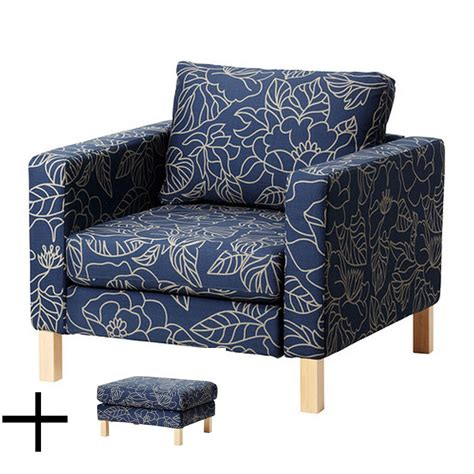 slipcover for chair and ottoman ikea karlstad bladaker blue armchair and footstool