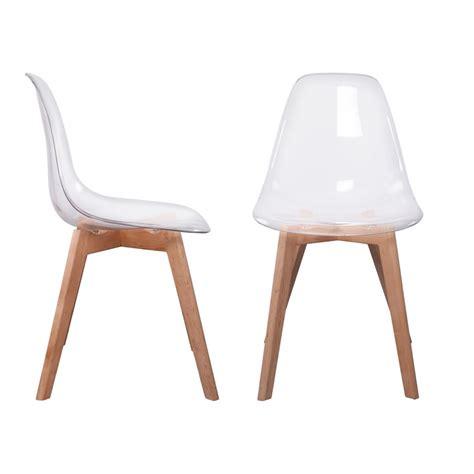 chaise de lot de 2 chaises design scandinaves pas cher pieds bois