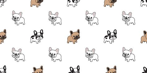 dog seamless pattern french bulldog vector scarf isolated