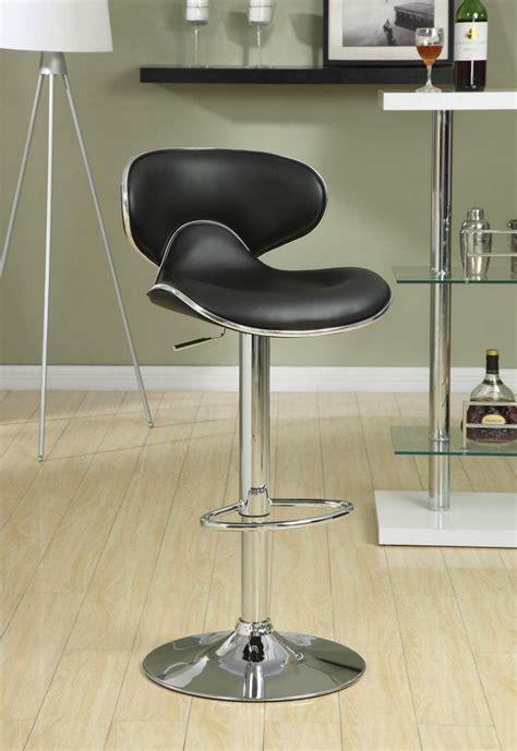 adjustable height set   faux leather chrome finish bar