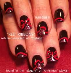 Black xmas nail art : Amazing black nail art w epic sexy red ribbons twilight