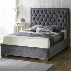 belinha fabric upholstered bed frame guaranteed cheapest With bed frame with cushioned headboard