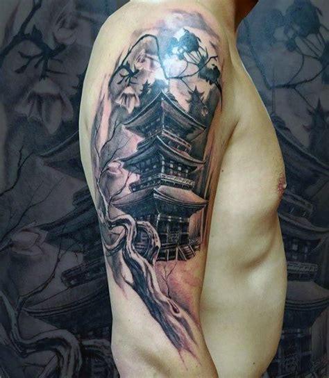 sleeve tree branch  japanese temple mens tattoos