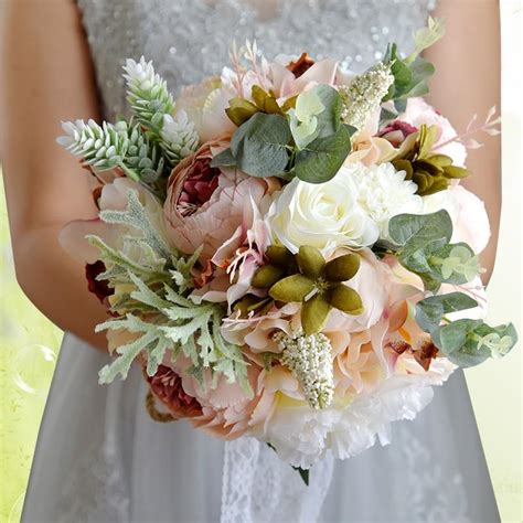 countryside style artificial wedding bouquets  brides