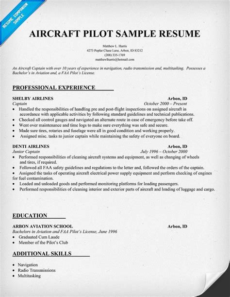 Helicopter Pilot Resume Templates by Aircraft Pilot Resume Http Resumecompanion Resume Sles Across All Industries