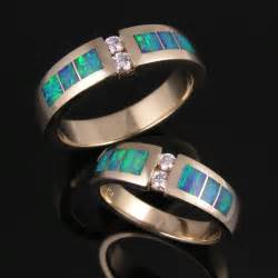 non traditional engagement ring australian opal wedding ring set with diamonds hileman jewelry dinosaur bone turquoise