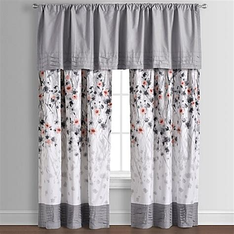coral and grey curtains calysta 84 inch rod pocket window curtain panel pair in
