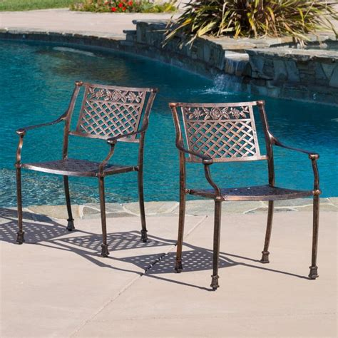 contemporary outdoor patio ft cast aluminum dining chairs