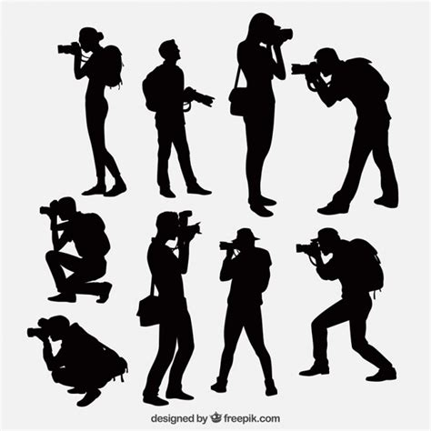 photographers with camera silhouettes vector free download