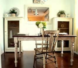 distressed table and chair in a country dining nook