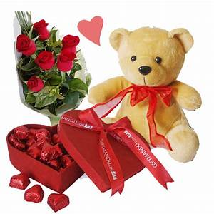 Chocolates, Roses and Teddy Bear for My Valentine - Send ...