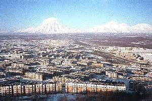Active volcanoes over the town of Petropavlovsk-Kamchatsky