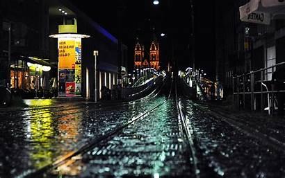 Night Street Rain Backgrounds Desktop Wallpapers Sun