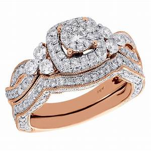 14k rose gold round cut diamond wedding bridal set antique With rose diamond wedding ring