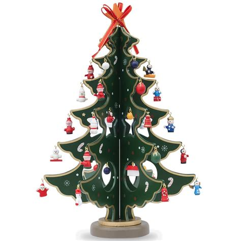 12 5 quot wooden tabletop christmas tree with miniature