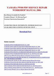 Yamaha Pw80 Service Repair Workshop Manual 2006 Pdf By