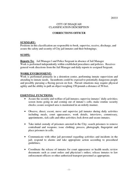 Sle Resume For Correctional Officer With Experience by 28 Resume For Correctional Officer Correctional Officers Resume Exles Enforcement Best Photos