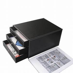 3 drawer 3 layer wood leather desk filing cabinet file With document organizer box