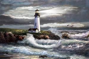 Oregon Lighthouse Beam Of Hope Painting by Regina Femrite