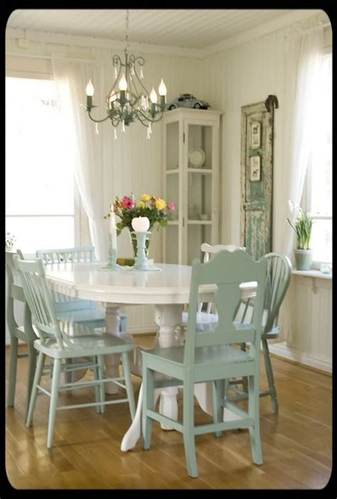 love     white table   pale blue chairs
