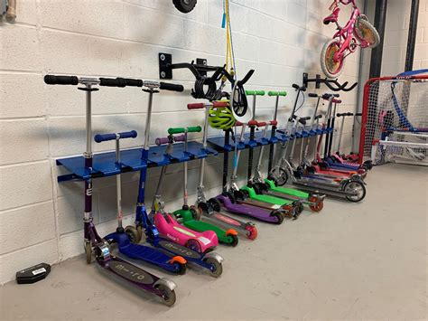 wall mounted  space scooter storage rack double coated steel