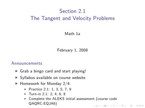 Lesson 1 The Tangent And Velocity Problems