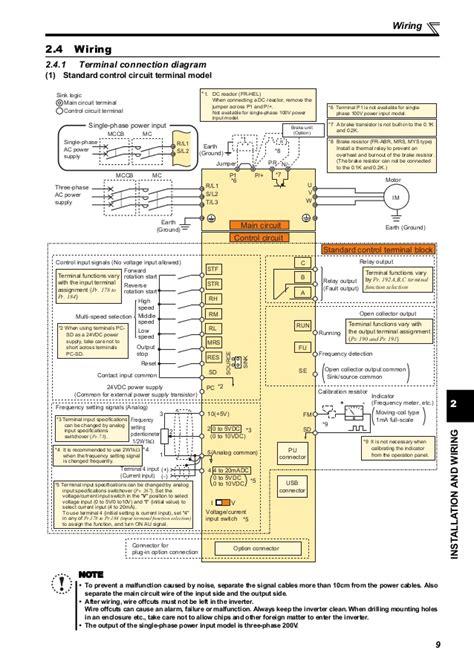 Wiring Diagram Inverter Mitsubishi by Catalog Inverter Fr E700 Manual Basic