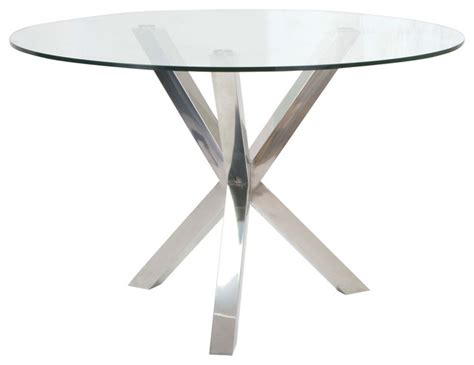 round glass table with metal base redondo round glass dining table stainless steel base