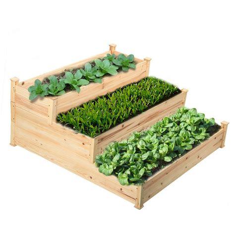 Elevated Garden by Wooden Raised Vegetable Garden Bed 3 Tier Elevated Planter