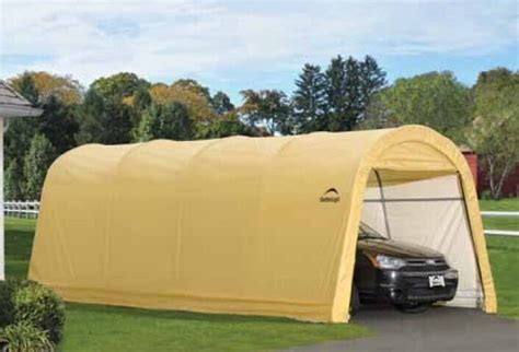 shelterlogic   tan auto shelter portable garage steel carport  ebay