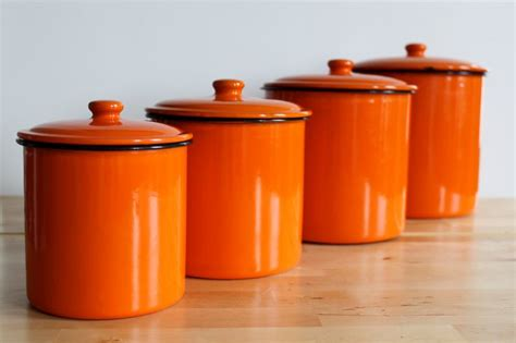 orange kitchen canisters enamel orange canister set bright colorful enamelware nesting kitchen canisters set of