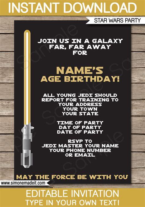 gold star wars invitations editable template birthday