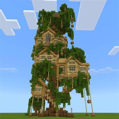 big minecraft fairy treehouse built  oak wood blocks  planks birch plan minecraft