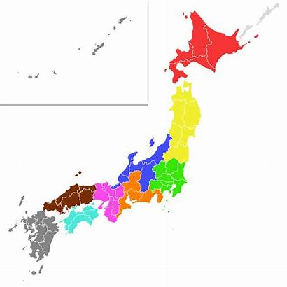 Japan Regions Map Japanese Football Giappone Colored