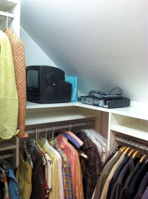 sloped closet ceiling storage solution closet pics for