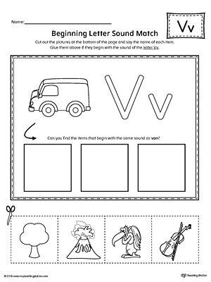 letter v worksheets letter v beginning sound picture match worksheet 51793