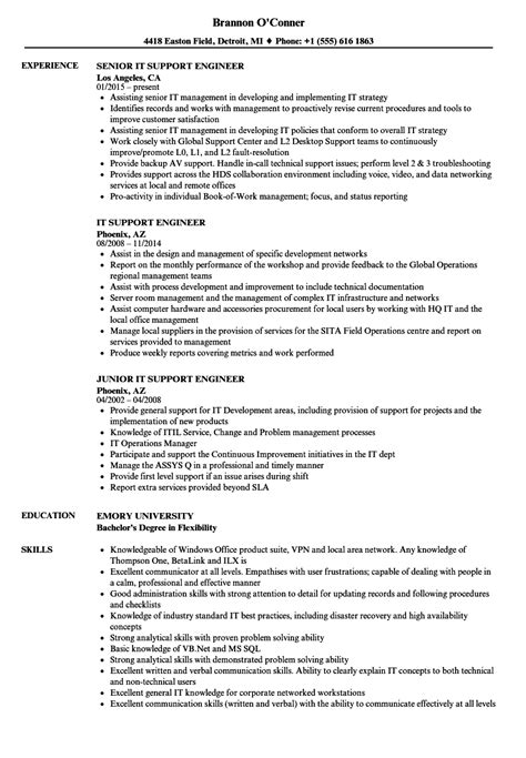 Resume For It by It Support Engineer Resume Sles Velvet