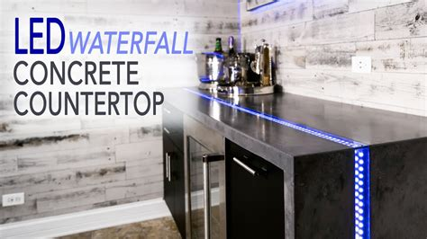 diy waterfall concrete countertop  led river inlay