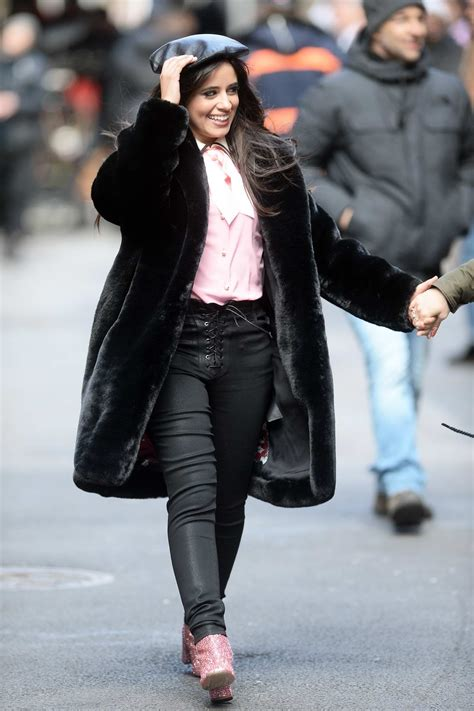 camila cabello spotted in a black fur coat while filming a ...